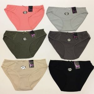 NWT Set Of 6 Panty Plus Size Cotton W/ Lace 2X 3X
